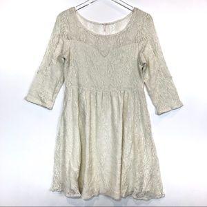 Free People 3/4 Sleeve Lace Swing Dress Size S